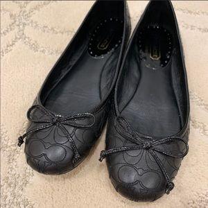 Coach Black Metallic Thread C Pattern Ballet Flats